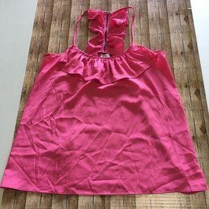 Charming Charlie Tops - Charming Charlie pink ruffled tank medium EUC